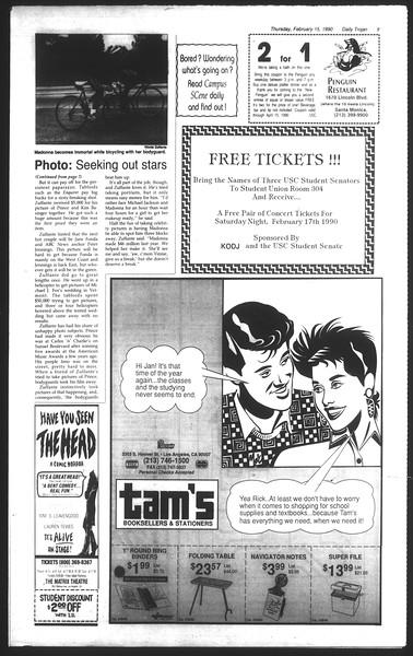 Daily Trojan, Vol. 111, No. 25, February 15, 1990