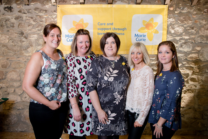 l-r Olivia Essex, Zoe Johnstone, Pamela Donald, Sandra Milne, and Sue Cran-Crombiel atended the 2018 ladies lunch for Marie Curie)  PHOTO BY JOHN PAUL PEEBLES OF ABRIGHTSIDE