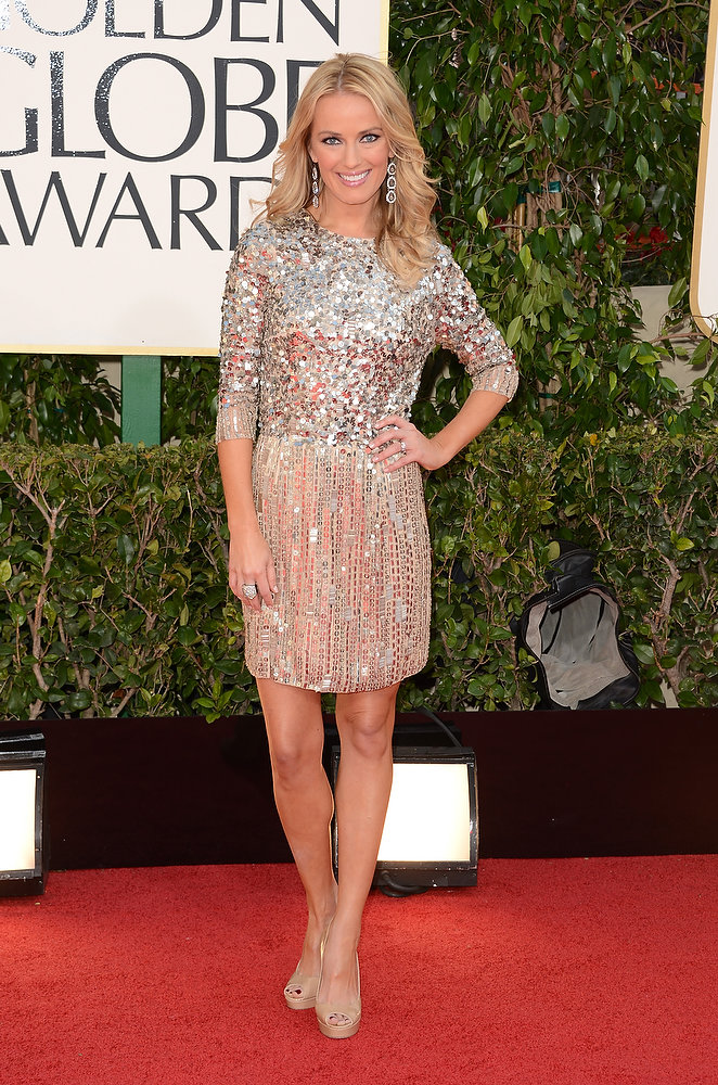 Description of . TV personality Brooke Anderson arrives at the 70th Annual Golden Globe Awards held at The Beverly Hilton Hotel on January 13, 2013 in Beverly Hills, California.  (Photo by Jason Merritt/Getty Images)