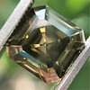 4.57ct Fancy Dark Greenish Yellow Brown Asscher Cut Diamond GIA 6