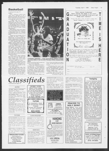 Daily Trojan, Vol. 100, No. 50, April 01, 1986