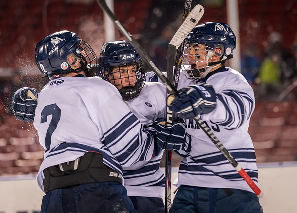 St. Marks vs Groton Frozen Fenway Hockey. 1/8/2014. St. Mark's players celebrate the tying goal in the 3rd Period.