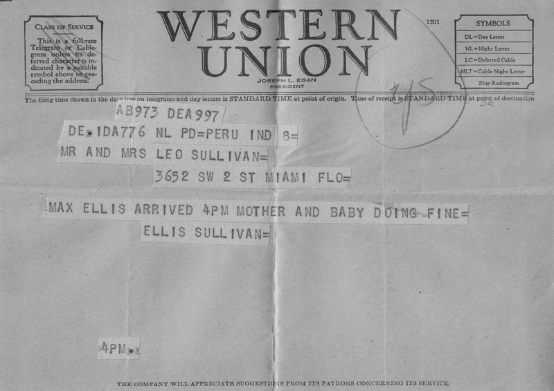 Western Union Telegram - March 8, 1949 - Announcing Max Sullivan's Birth.jpg