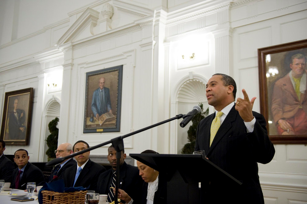 Description of . Mass. Gov. Deval Patrick gives the keynote address at Yale, in New Haven, Conn on Friday Feb. 13, 2009. Hosted by Pierson College and Afro-American Cultural Center for Black History Month.  (AP Photo/Douglas Healey)