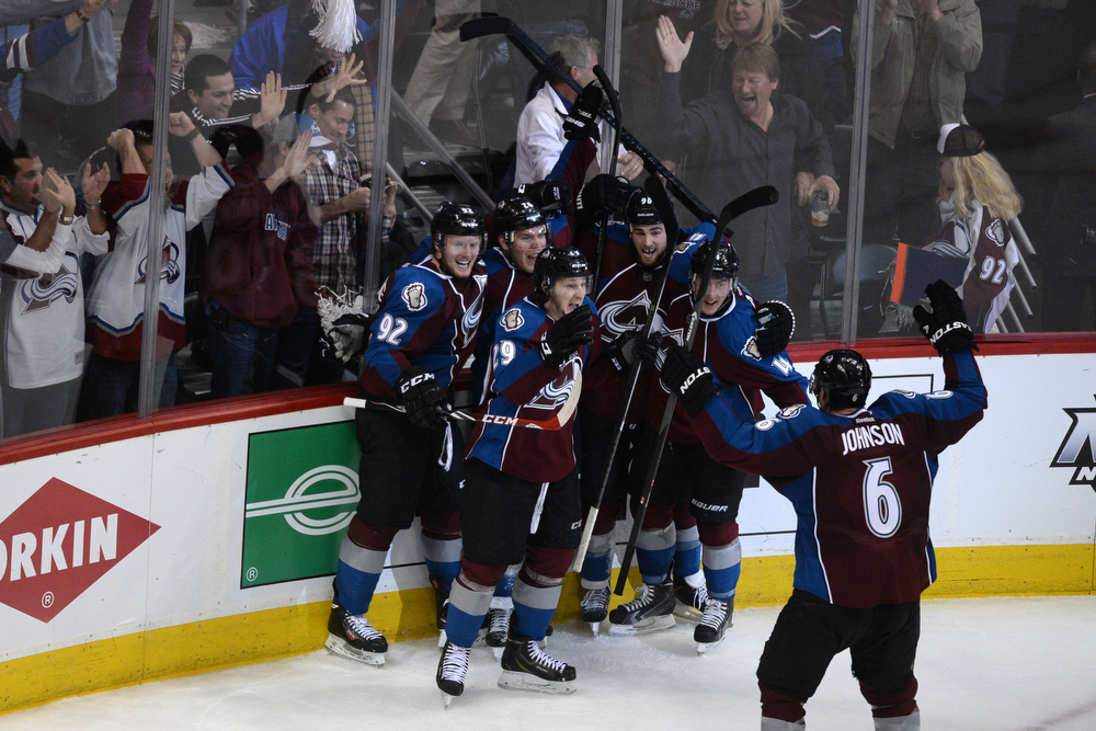 . Paul Stastny (26) of the Colorado Avalanche celebrates his game-tying 4-4 goal with teammates against the Minnesota Wild with less than 15 seconds to play during the third period. The Colorado Avalanche hosted the Minnesota Wild during the first round of the NHL Stanley Cup Playoffs at the Pepsi Center on Thursday, April 17, 2014. (Photo by Karl Gehring/The Denver Post)