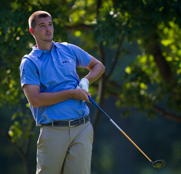 TJ Vogel watches his tee shot on 7 during second round medal play at the 2012 Western Amateur Championship at Exmoor Country Club in Highland Park IL. on Wednesday, August 1, 2012. (WGA Photo/Charles Cherney)