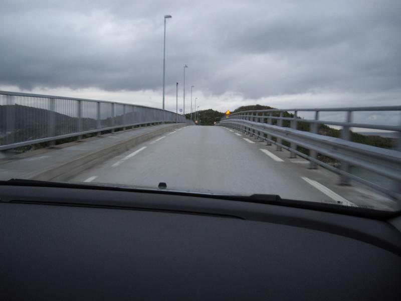 A one-lane bridge -- pretty wild.