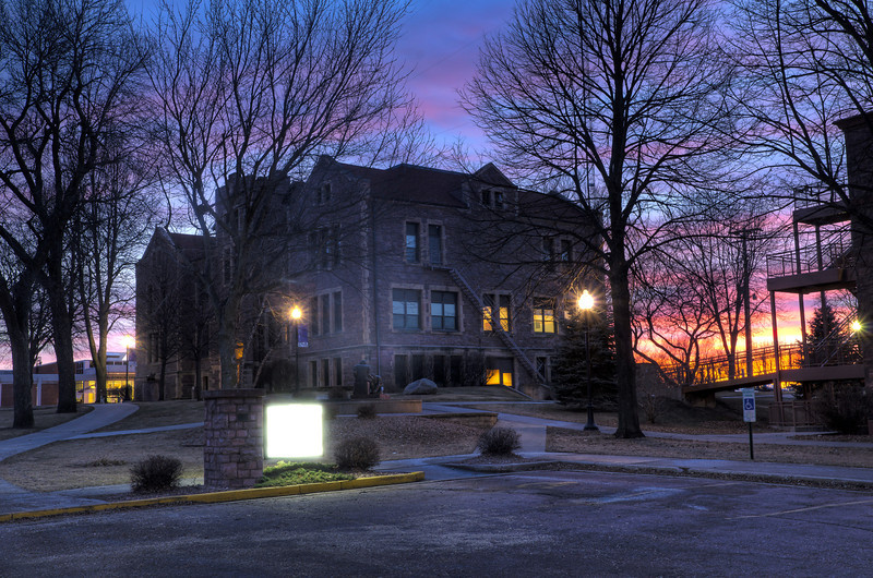 Day 338: Jorden Hall at Sunset It was passed business hours. I just got done with work for the day and took a stroll around Jorden Hall. The sunset looked awesome and thought I should shoot around Gliden Hall. I shot Jorden Hall a few times already, but only one or two of Gliden Hall. But from this point of view, Jorden Hall just looks better.  I made more HDR photos other than this one, but this photo looks better to me.