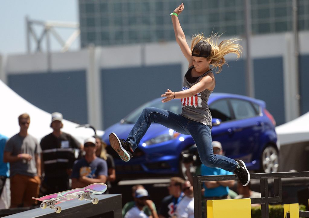. Alana Smith competes during the  X Games Los Angeles Women\'s Skateboard Street Final at LA Live Thursday, August 1, 2013. (Hans Gutknecht/Los Angeles Daily News)