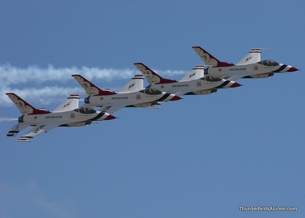 The Thunderbird's performing an echelon pass this weekend at MacDill Air Force Base.  During a demonstration the Thunderbirds fly between 18-24 inches apart at an average of 400 miles per hour.