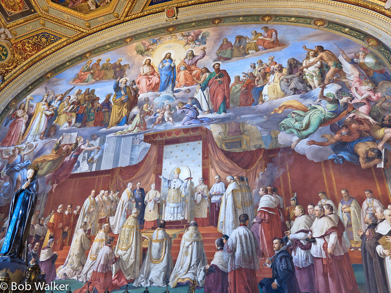 The following are paintings on walls and ceilings of Raphael Room's in the Vatican Museum http://mv.vatican.va/3_EN/pages/SDR/SDR_00_Main.html