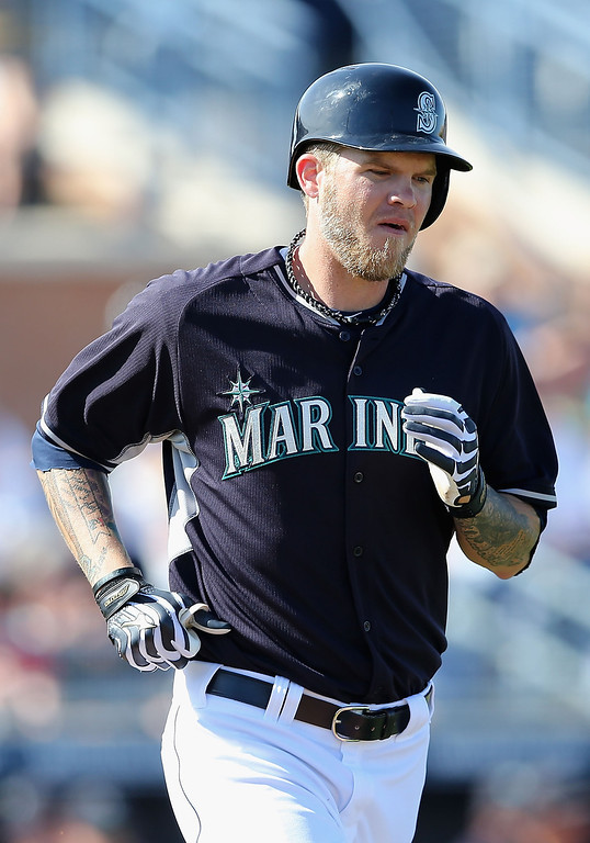 . Corey Hart #27 of the Seattle Mariners draws a walk against the Colorado Rockies during the spring training game at Peoria Stadium on March 3, 2014 in Peoria, Arizona.  (Photo by Christian Petersen/Getty Images)
