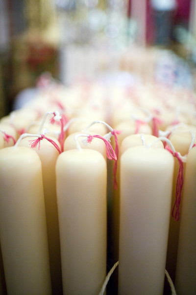 Candles ready for the Holy Week penitents, Seville, Spain
