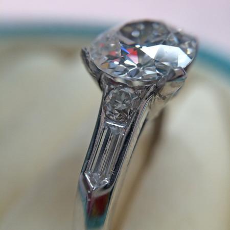 Art Deco Platinum Setting, Bullet-Shaped Side Stones
