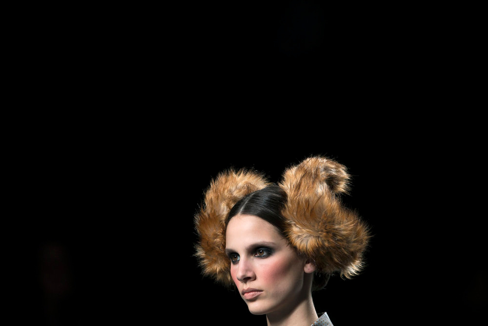 Description of . A model presents a creation from designer Maya Hansen\'s Fall/Winter 2013 collection during the Mercedes-Benz Fashion Week in Madrid February 18, 2013. REUTERS/Juan Medina (SPAIN - Tags: FASHION SOCIETY)