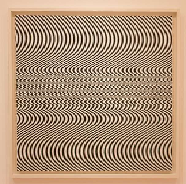 Current (1964) by Bridget Riley (b. 1931) - Synthetic polymer paint on composition board -- Museum of Modern Art (MoMA), New York