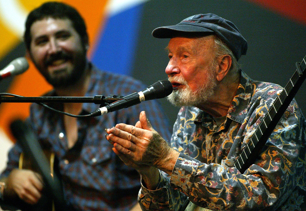 . Pete Seeger Kids Concert where he told stories and sang with Tao Rodriguez-Seeger at Monterey Jazz Festival (Saturday evening) in Monterey, Calif. on Saturday September 19, 2009. (Orville Myers/ Monterey County Herald)