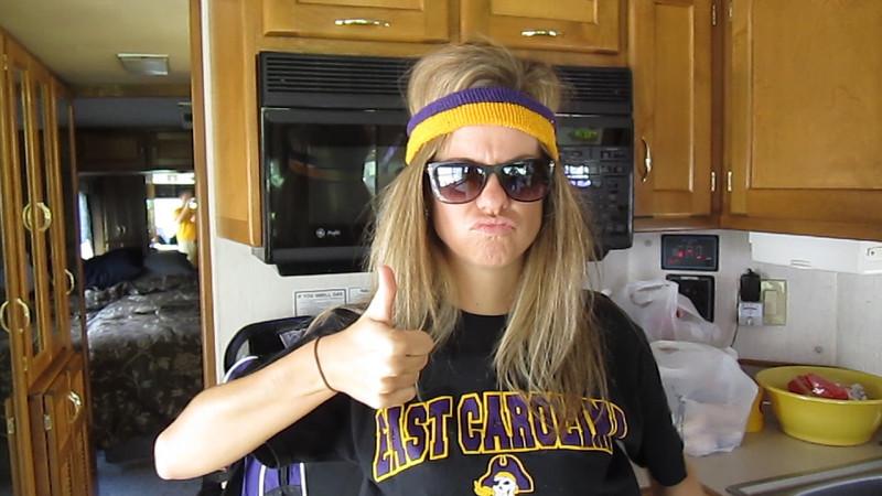 10/1/2011 ECU vs North Carolina  Jen with her purple and gold headband.