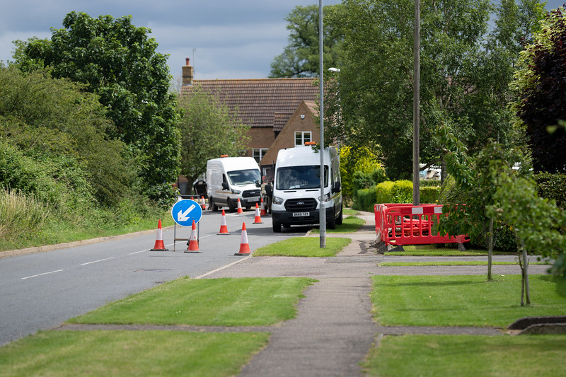 Roadworks and installation of new pole (7 July 2021)