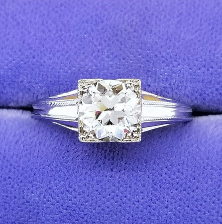 1.08ct Vintage Old European Cut Diamond Ring - L, SI2