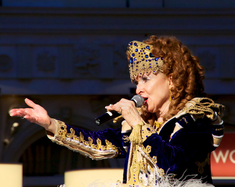 An opera singer performing in St. Mark's Square. The Venetian Hotel.