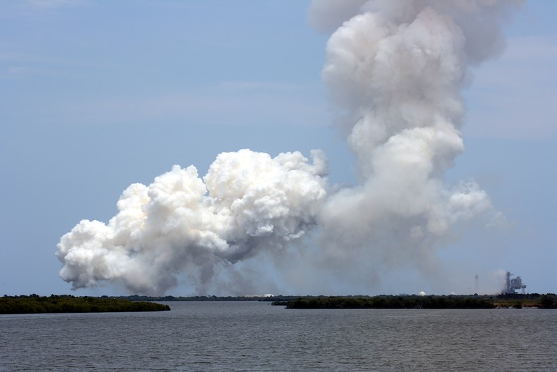 Launch Pad 39-A is finally visible again, T plus 1 minute and 50 seconds after liftoff