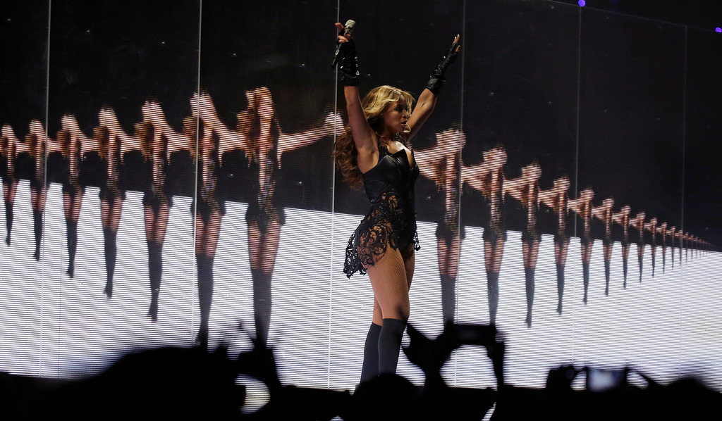 . Beyonce performs during the halftime show of  the NFL Super Bowl XLVII football game between the San Francisco 49ers and the Baltimore Ravens, Sunday, Feb. 3, 2013, in New Orleans. (AP Photo/Matt Slocum)