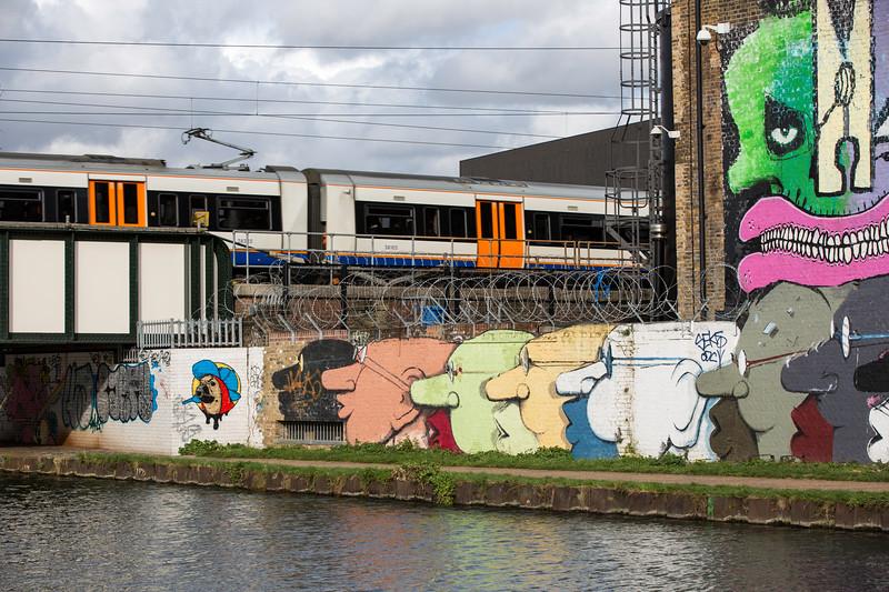 Graffiti on the wall along the Lee River Navigation, Hackney, E9, London, United Kingdom