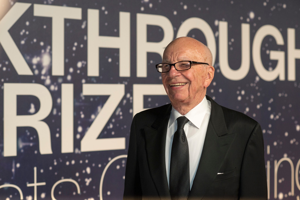 . Rupert Murdoch arrives at the 2nd Annual Breakthrough Prize Award Ceremony at the NASA Ames Research Center on Sunday, Nov. 9, 2014 in Mountain View, California. (Photo by [Peter Barreras]/Invision/AP)