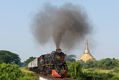 Class YC  4-6-2 No 629 heads south from Pa Ya Gyi with pagoda in the background