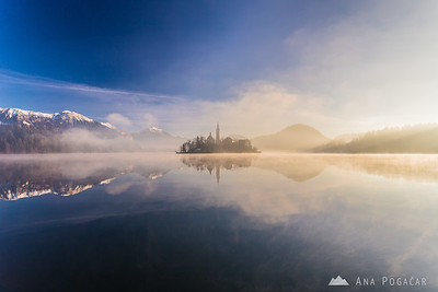 Misty sunrise at Lake Bled - Dec 17, 2013