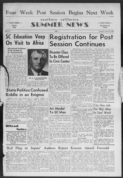 Summer News, Vol. 7, No. 10, July 29, 1952