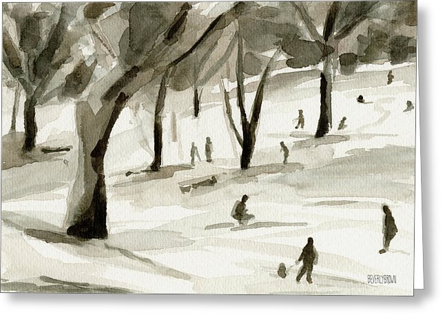 Sledding Central Park New York City Holiday Greeting Card by Artist Beverly Brown