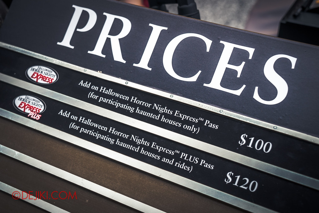 Halloween Horror Nights 6 SURVIVAL GUIDE by Dejiki.com / Express Pass prices