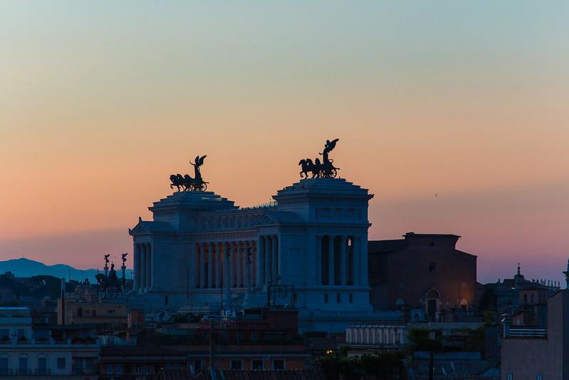 The majestic Vittorio Emanuele monument during sunrise