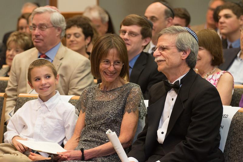 grandson Ian Rudolph, Gail Fribush and Rabbi Rudolph -- Tour de Rudolph -- Retirement tribute for Rabbi Bill Rudolph, Congregation Beth El, Bethesda, MD, May 17, 2015