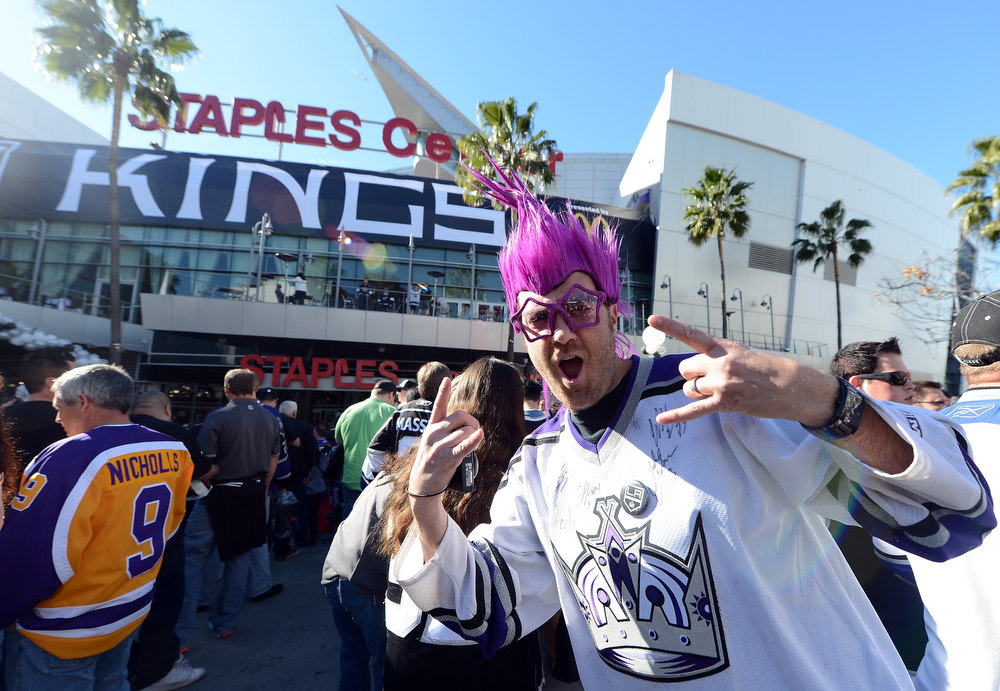 Description of . LOS ANGELES, CA - JANUARY 19:  Jake Westphal reacts as he waits to enter the arena for the NHL season opening game between the Chicago Blackhawks and the Los Angeles Kings at Staples Center on January 19, 2013 in Los Angeles, California.  (Photo by Harry How/Getty Images)