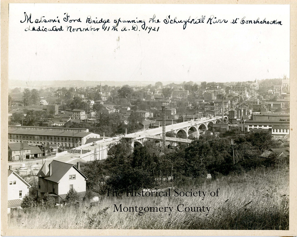 . This photo from the Historical Society of Montgomery County shows the Matson Ford Bridge spanning the Schuylkill River in Conshohocken. The bridge was dedicated on Nov. 11, 1921.