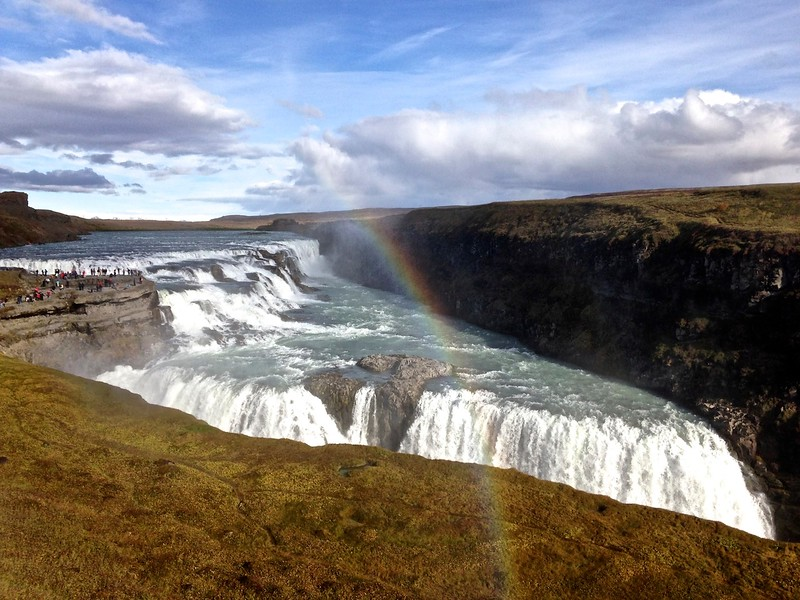 Rainbow over the lower falls at Gullfoss - photo by Ron R.