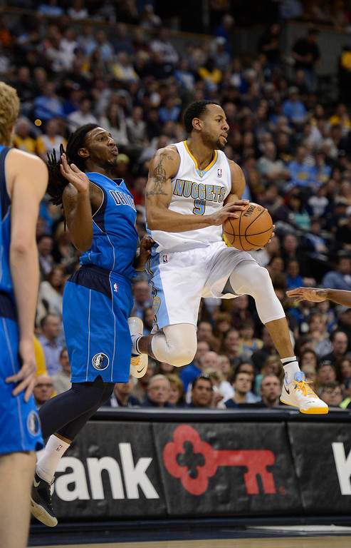 . DENVER, CO. - APRIL 04: ,Andre Iguodala (9) of the Denver Nuggets is forced to make a pass by Jae Crowder (9) of the Dallas Mavericks during the first quarter April 4,  2013 at Pepsi Center. (Photo By John Leyba/The Denver Post)