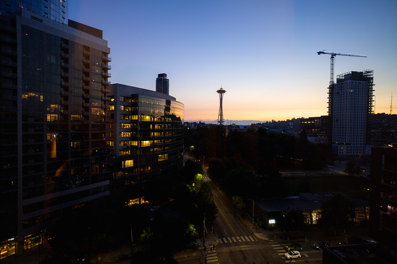 seattle space needle and skyline at sunset