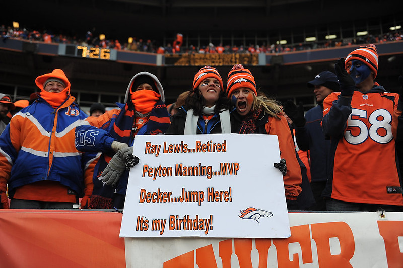. Broncos fans show their support during the first half.  The Denver Broncos vs Baltimore Ravens AFC Divisional playoff game at Sports Authority Field Saturday January 12, 2013. (Photo by Hyoung Chang,/The Denver Post)