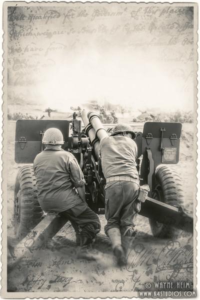 Manning the Gun     Black & White Photography by Wayne Heim