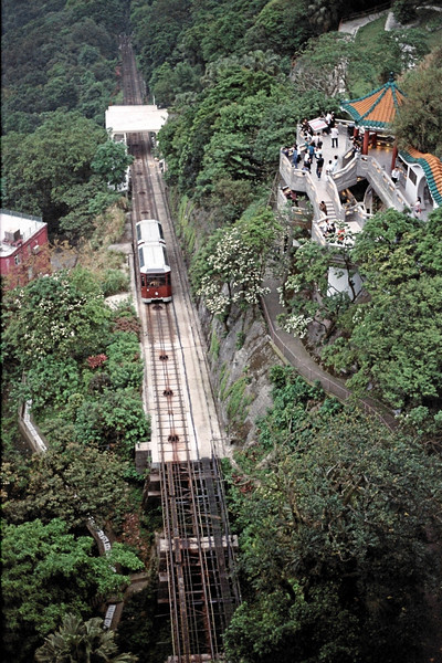 The Peak Tram approaching the Peak Station.