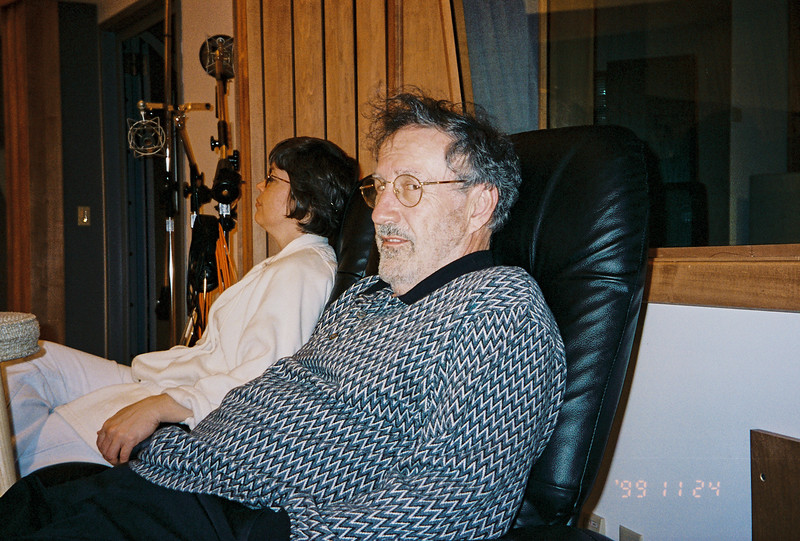 Visit from the Lebins, Jamming in the Maple Room. JML, Larry Lebin. August 1999.