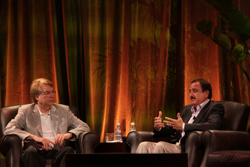 """""""Bandwidth Economics: The Global Rollout"""": Host Larry Smarr (L), Director, Calit2 (the """"FiRe Lab""""), UCSD; with Sol Trujillo (R), past CEO, Telstra"""