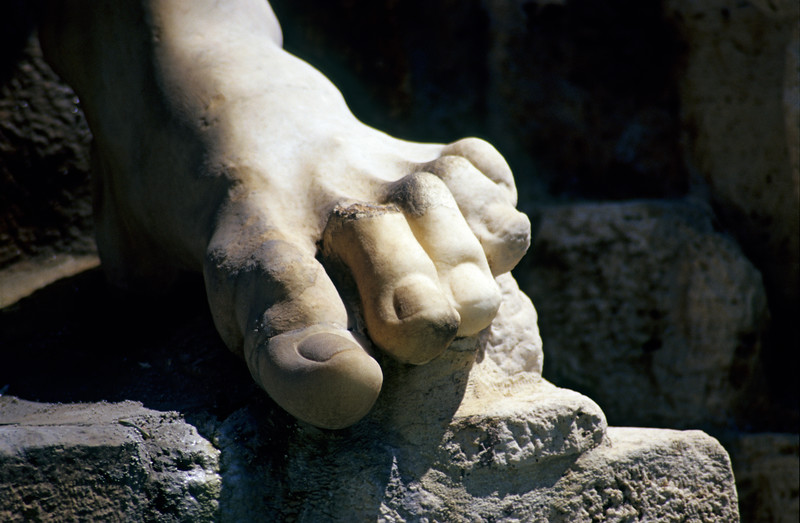 Detail of Statue Foot and Toes, Rome (Italy)