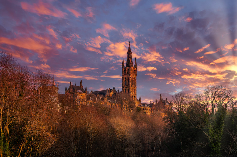 Majestic Towers of the University of Glasgow in Late Evening Sun.