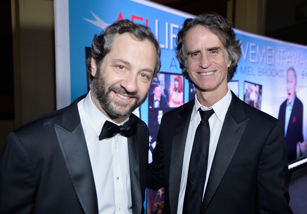 . Filmmakers Judd Apatow (L) and Jay Roach attend the 41st AFI Life Achievement Award Honoring Mel Brooks after party at Dolby Theatre on June 6, 2013 in Hollywood, California. Special Broadcast will air Saturday, June 15 at 9:00 P.M. ET/PT on TNT and Wednesday, July 24 on TCM as part of an All-Night Tribute to Brooks.  (Photo by Frazer Harrison/Getty Images for AFI)
