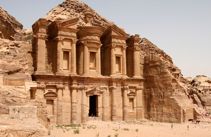 Petra - A closer view of The Monastery which was built in the 3rd century BC as a Nabataean tomb, perhaps to King Obodas I.  The Monastery gets it name from crosses carved on it's inside walls, suggesting that the building was used as church in Byzantine times.